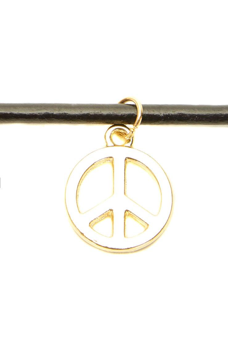 Fraya Leather Gold Peace Sign Choker 3