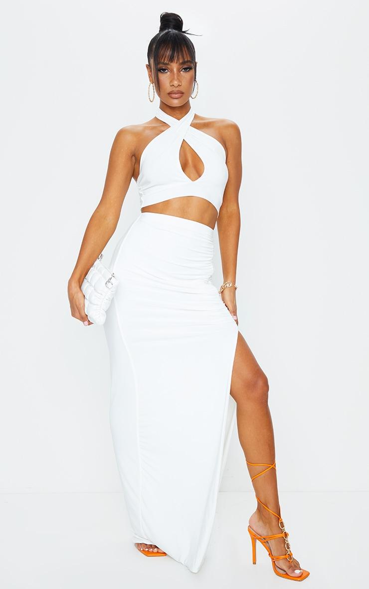 Cream Slinky Ruched Waist Maxi Skirt 1