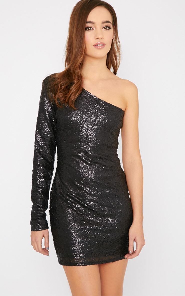 Kisha Black One Shoulder Sequin Mini Dress 1
