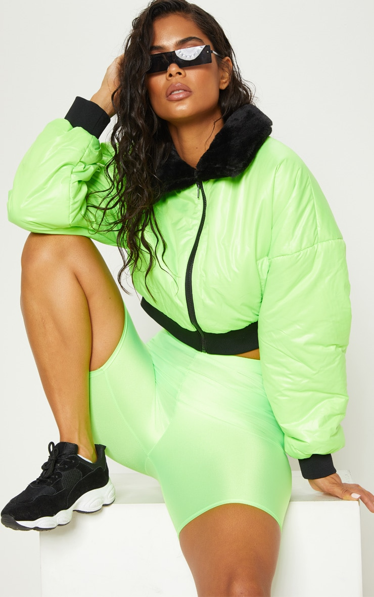 LIME FAUX FUR COLLAR CROPPED PUFFER