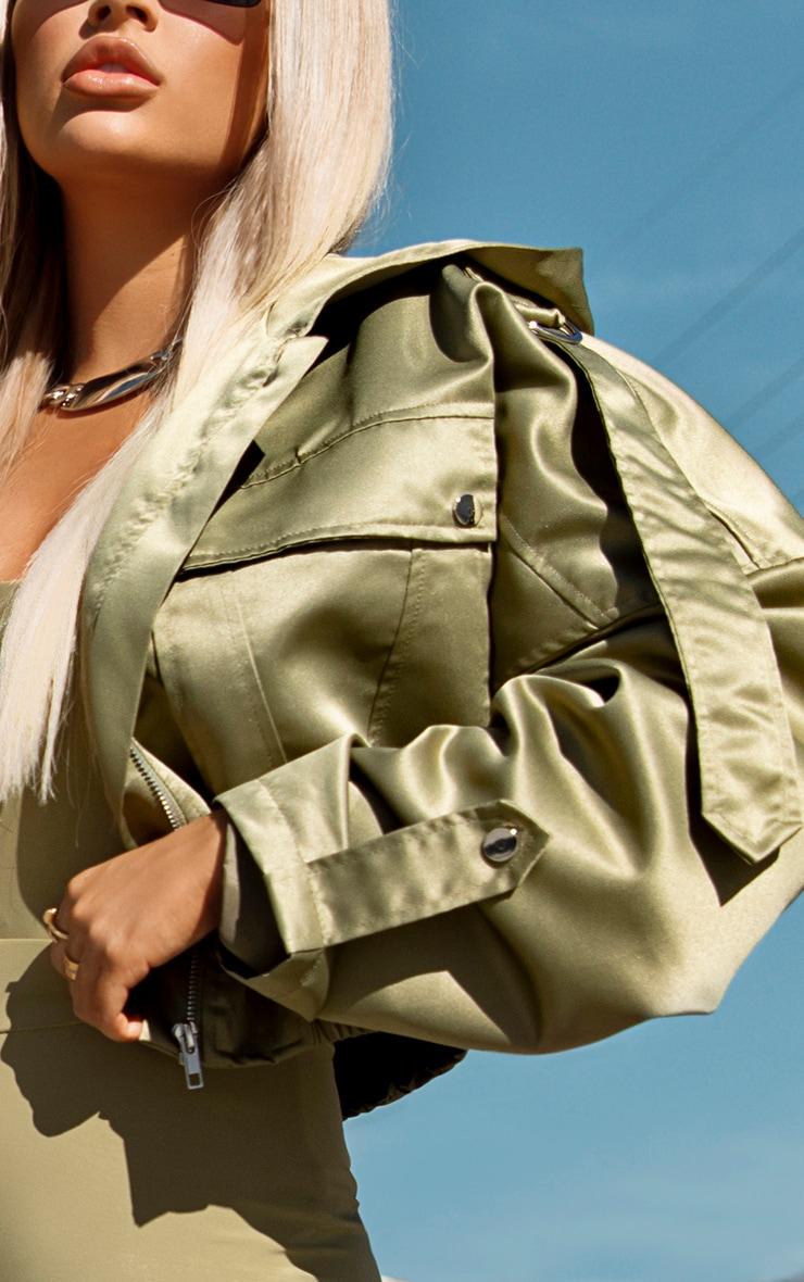 Sage Green Satin Oversized Hooded Pocket Bomber Jacket 4