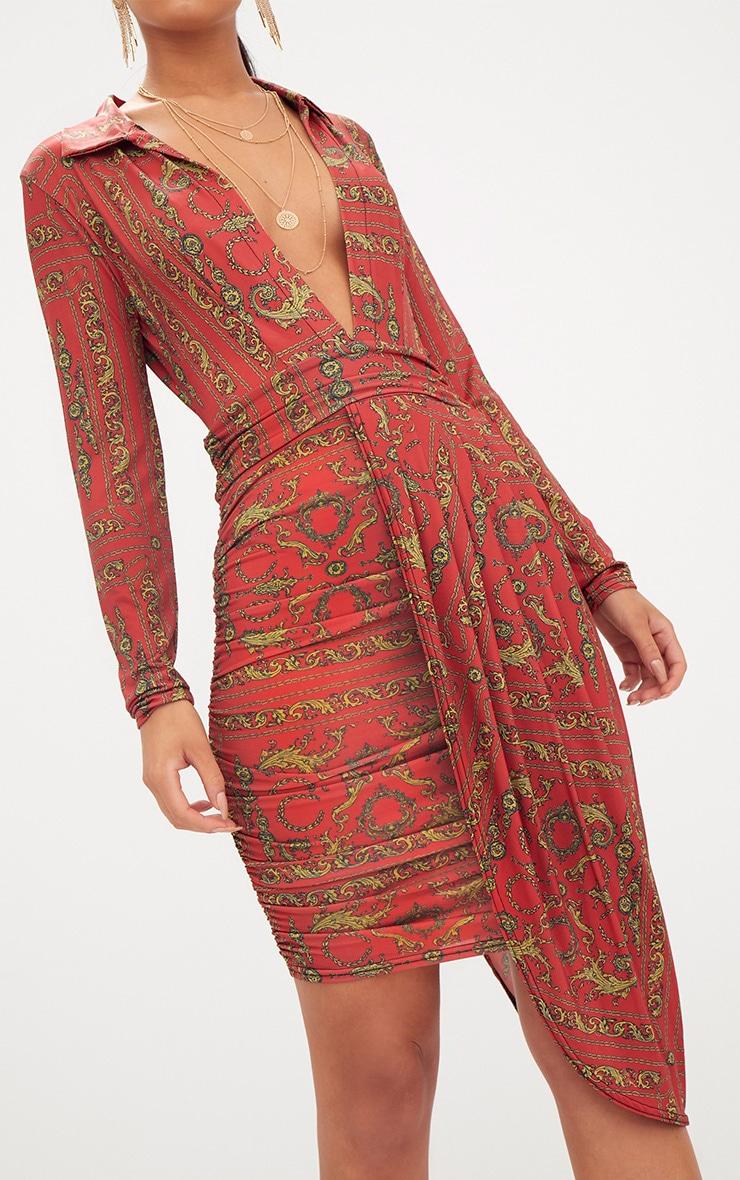 Orange Chain Print Long Sleeve Drape Front Plunge Bodycon Dress 5