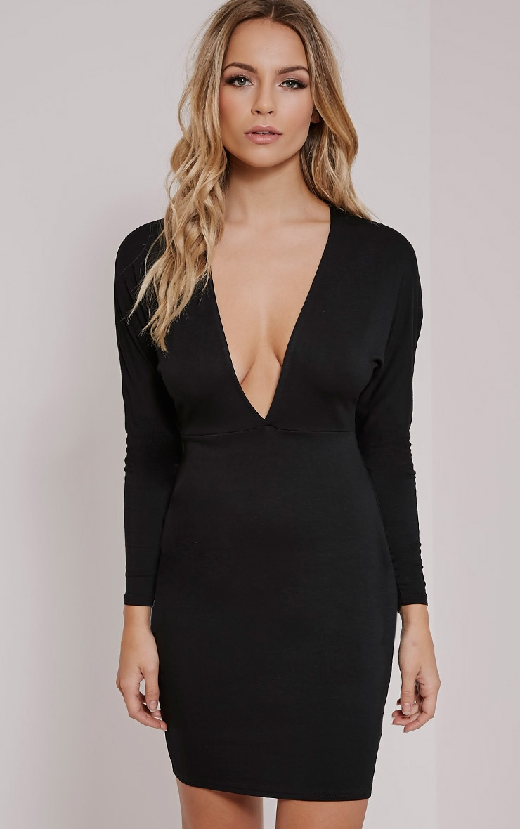 Honora Black Plunge Bodycon Dress 1