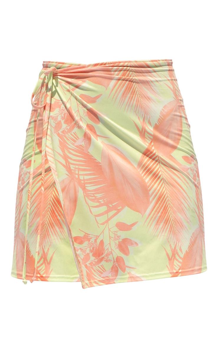 Yellow Tropical Print Slinky Split Tie Side Mini Skirt 6