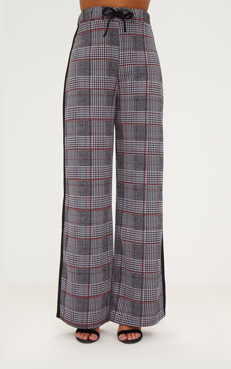 Grey Check Print Wide Leg Track Pants New In