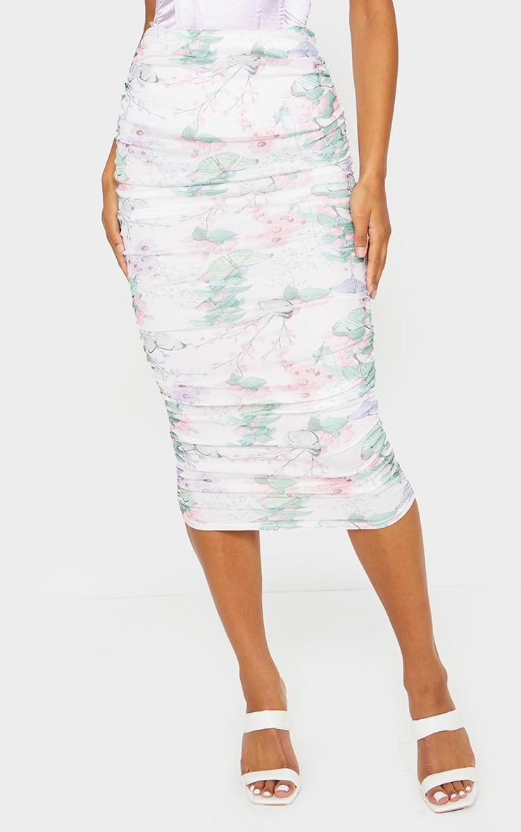 White Floral Mesh Ruched Midi Skirt 2