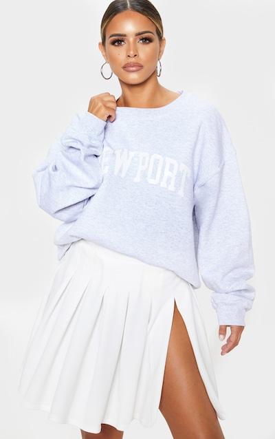 Petite White Pleated Side Split Tennis Skirt