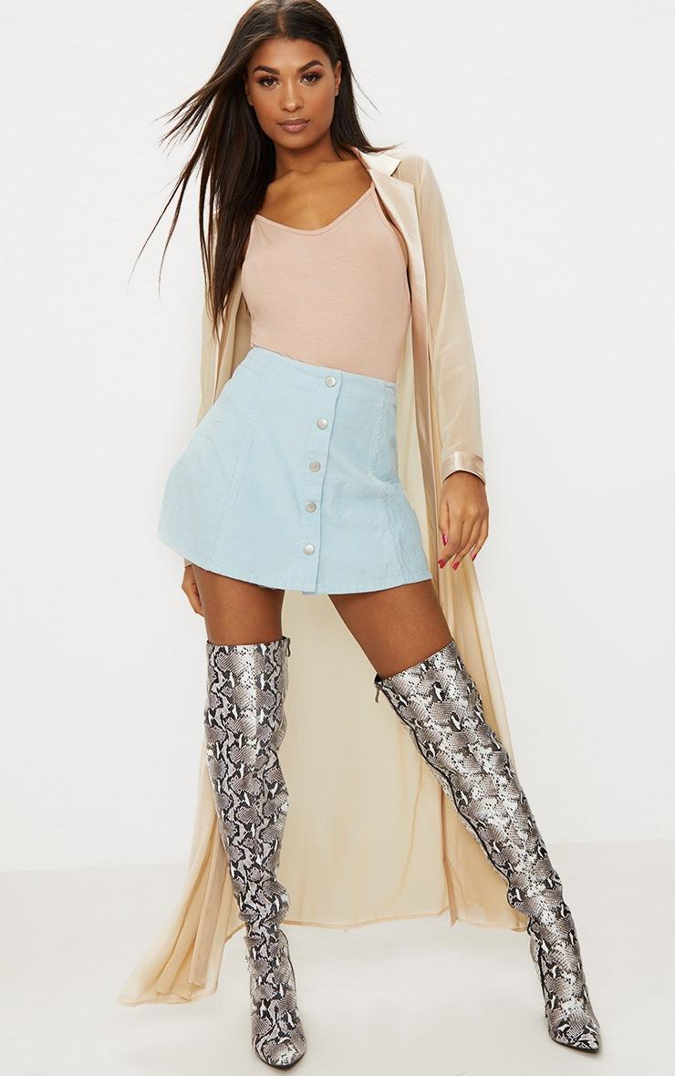 Baby Blue A-Line Cord Mini Skirt 5