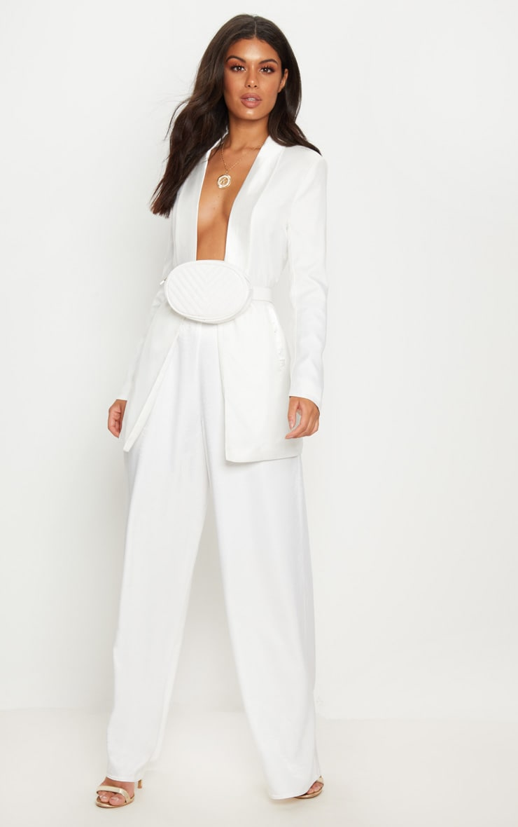 White Oversized Satin Wide Leg Trouser 1