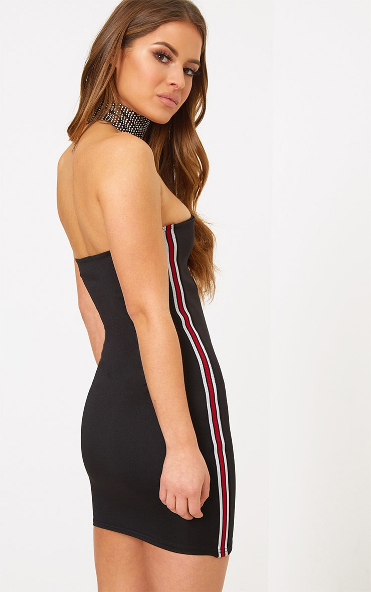 Petite Black Sports Rib V Plunge Mini Dress 2