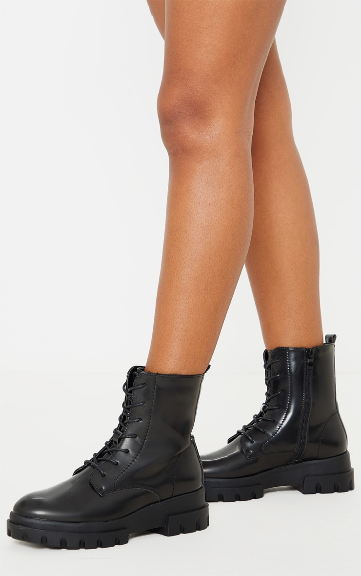 Black Chunky Sole Cleat Lace Up Ankle Boot 1