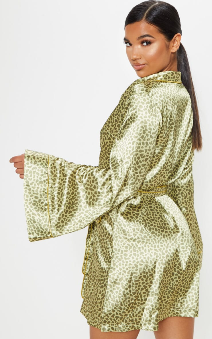 Yellow Animal Print Kimono Dress 2