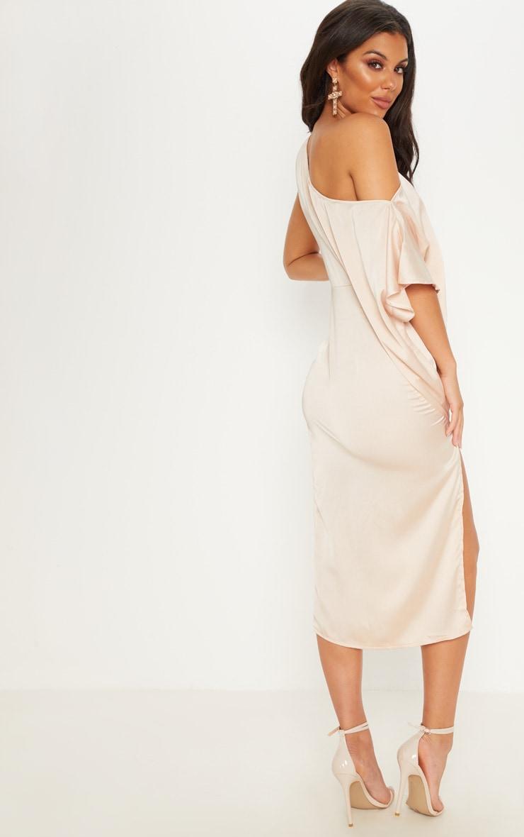 Champagne Satin One Shoulder Cape Sleeve Midi Dress 2