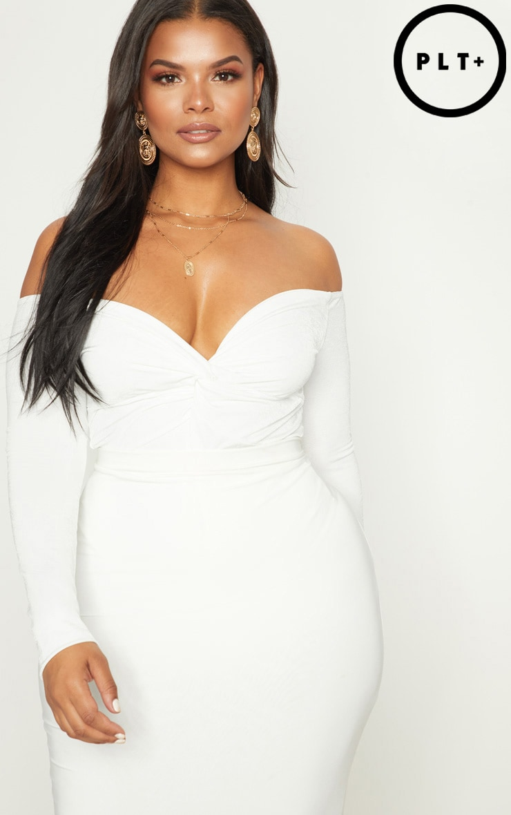 Plus White Slinky Twist Front Bardot Bodysuit 1