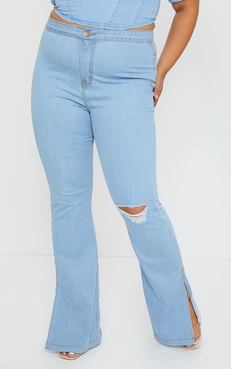 Plus Vintage Wash Knee Rip Flared Jean 2
