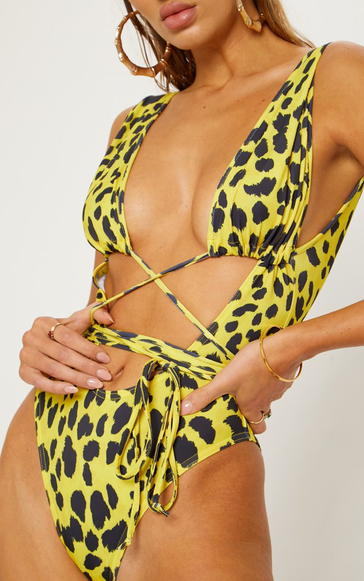 Yellow Cheetah Cut Out Wrap Around Swimsuit 6