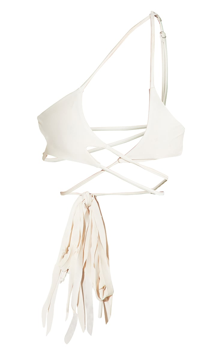 Cream Asymmetric Tassel Side Triangle Bikini Top 8