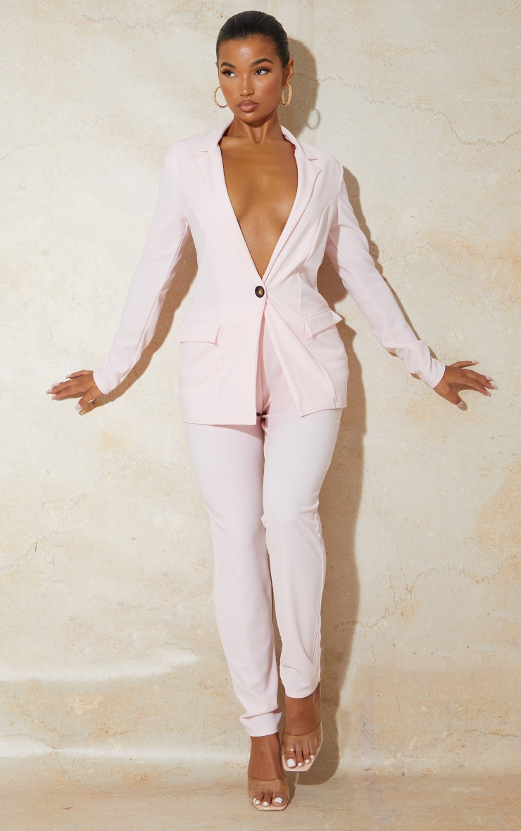 Light Pink Fitted Button Detail Crepe Blazer 3