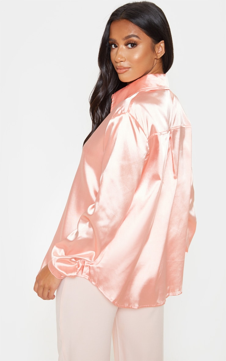 Petite Peach Satin Button Up Shirt 2