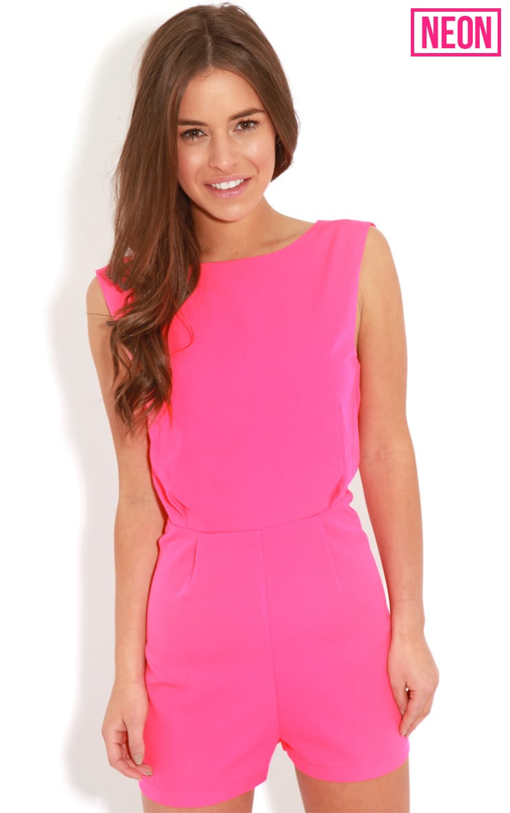 Diana Neon Pink Cross Over Playsuit 1