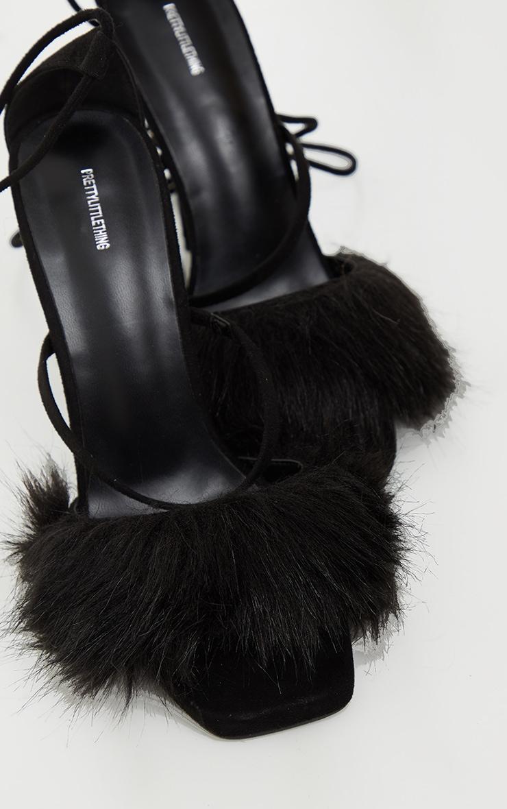 Black Faux Fur Lace Up High Heels 4