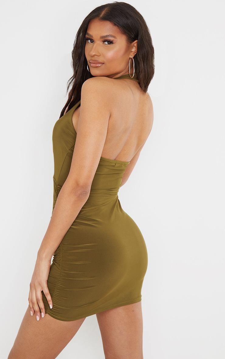 Olive Slinky Halterneck Bust Detail Bodycon Dress 2