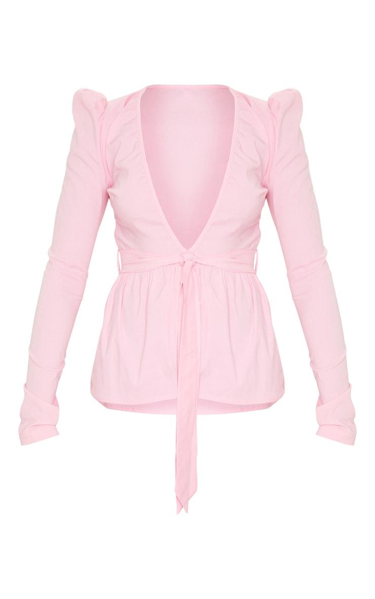 Pink Woven Plunge Peplum Tie Waist Blouse 3