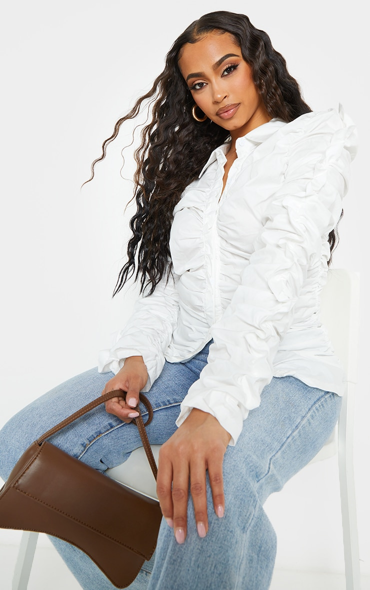 White Woven Extreme Ruched Shirt