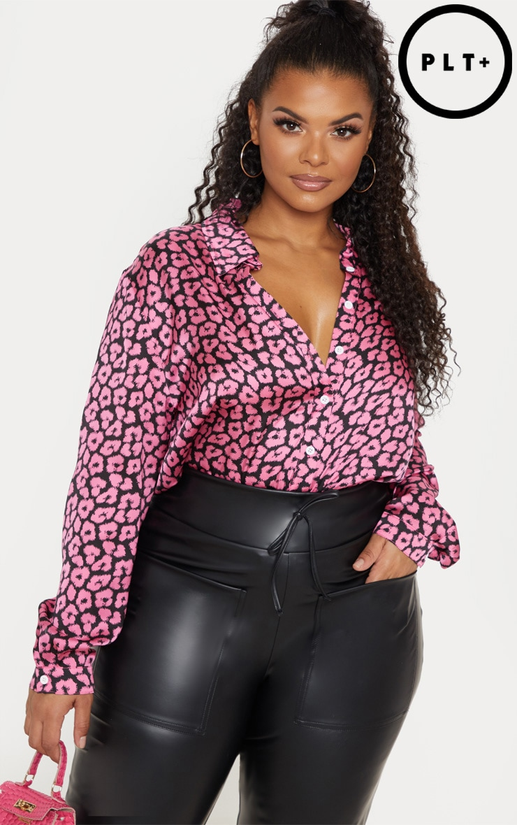 Plus Bright Pink Leopard Print Oversized Shirt   1