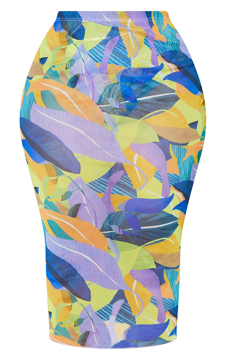 Plus Yellow Geo Print Mesh Bodycon Midi Skirt 5