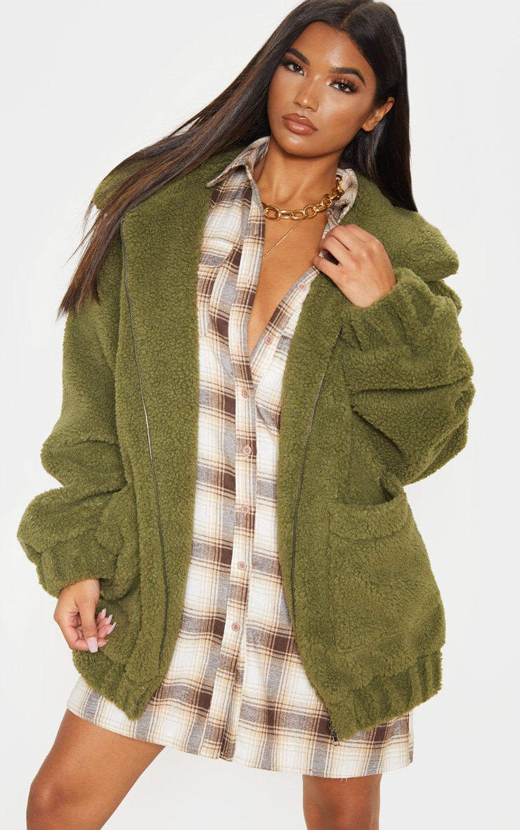Khaki Oversized Borg Pocket Front Coat 1