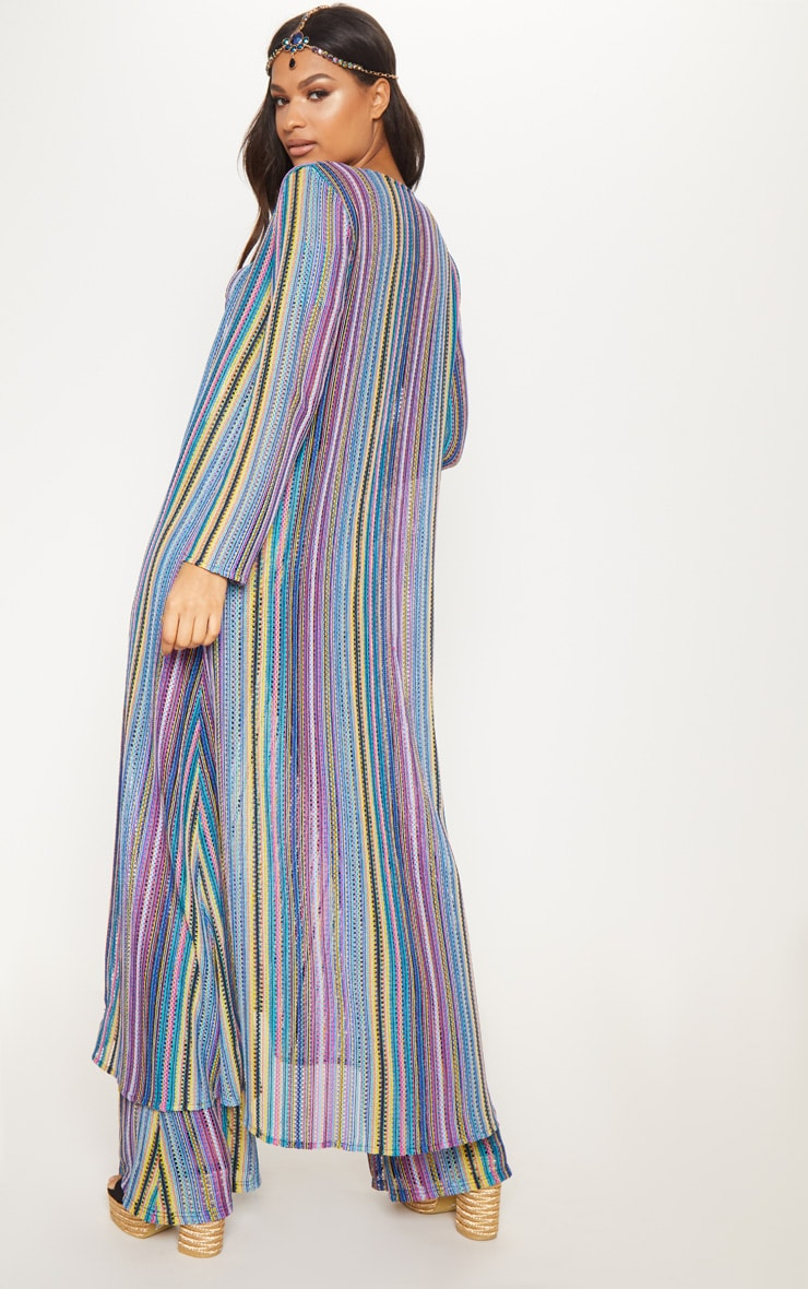 Multi Crochet Stripe Maxi Cardigan  3
