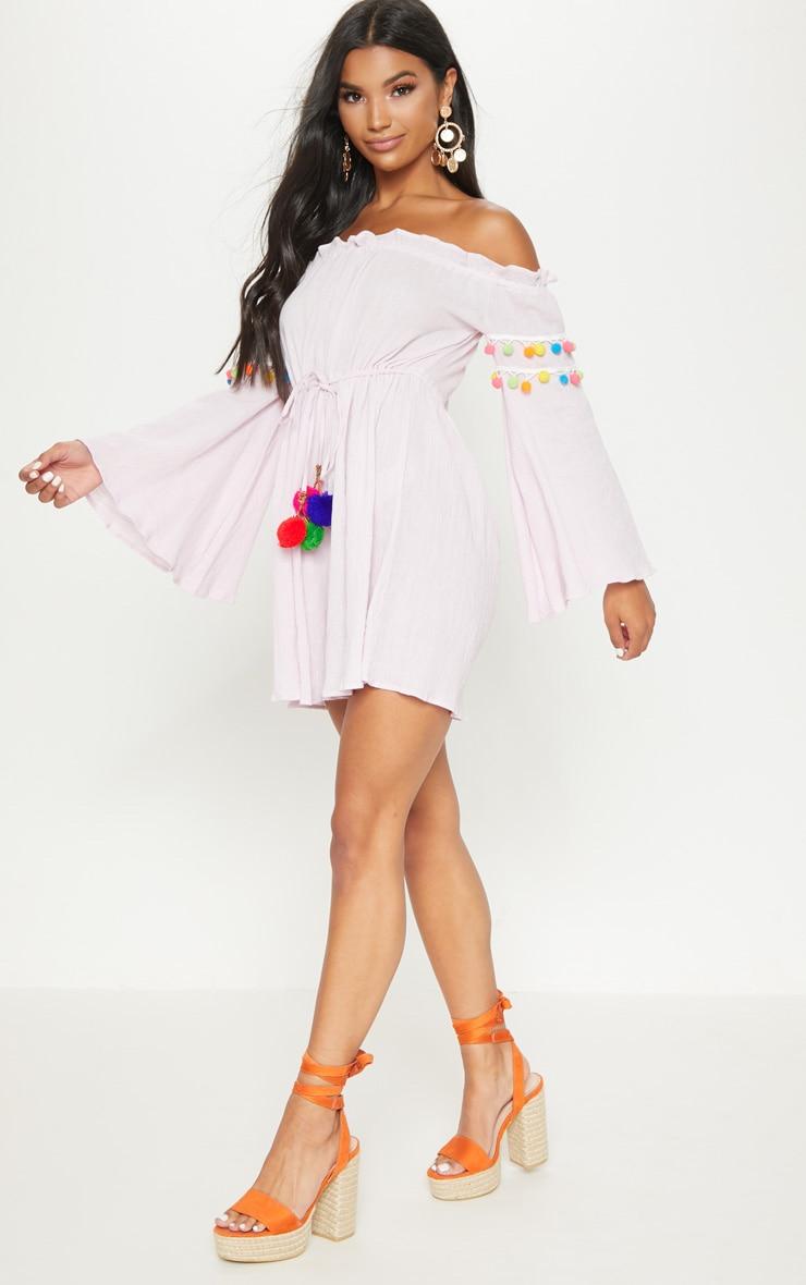 Pastel Pink Pom Pom Trim Bardot Smock Dress 4