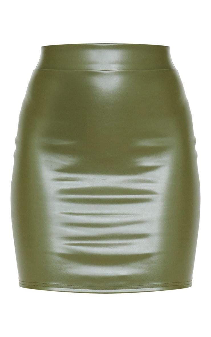 Khaki Basic Faux Leather Mini Skirt 3