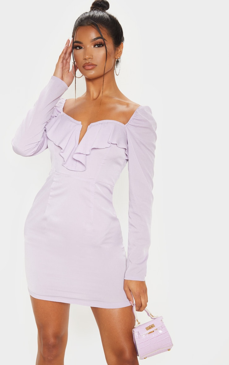 Dusty Lilac V Bar Frill Detail Bodycon Dress 1