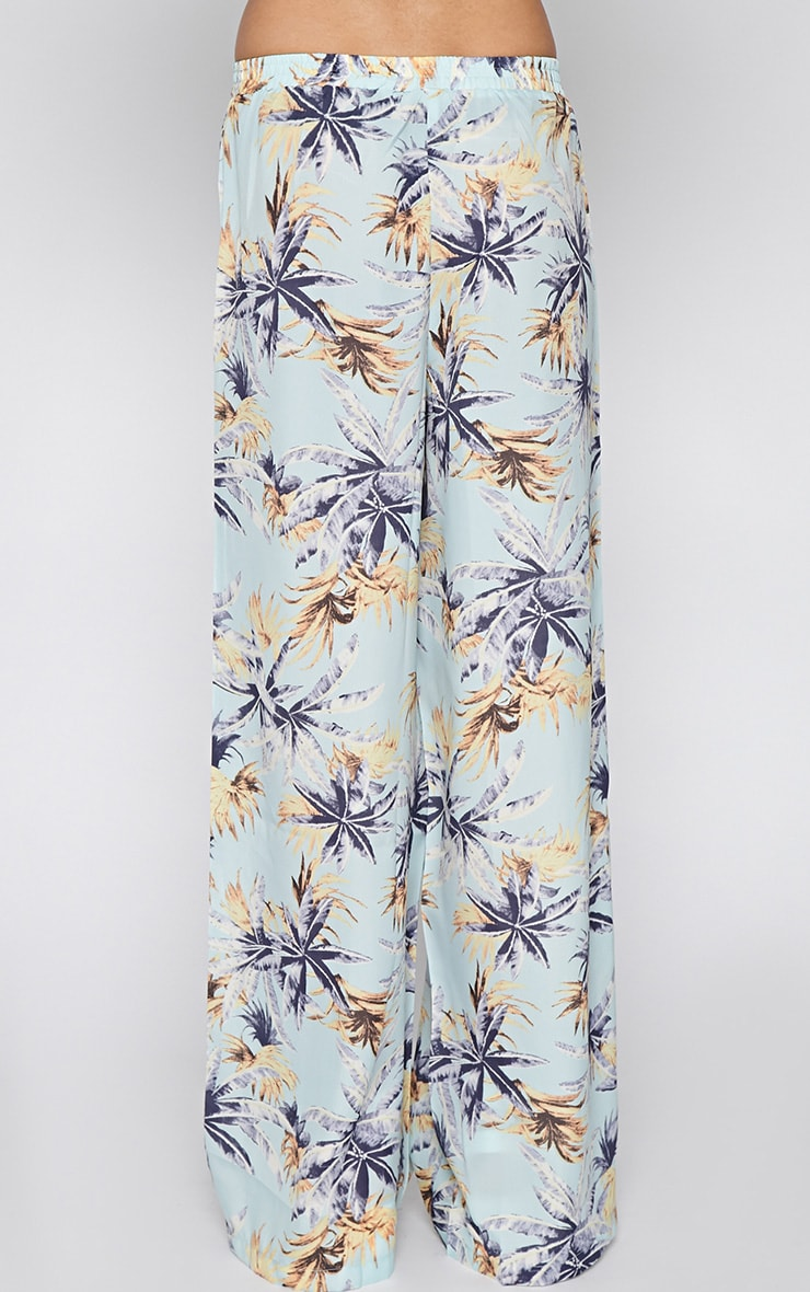 Jocelyn Blue Leaf Print Trouser -S 2