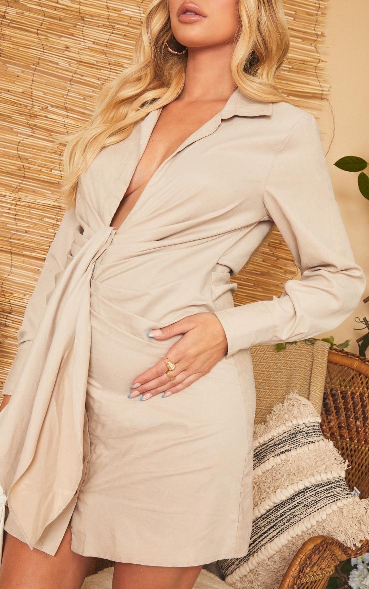 Maternity Stone Plunge Wrap Waist Mini Dress 4