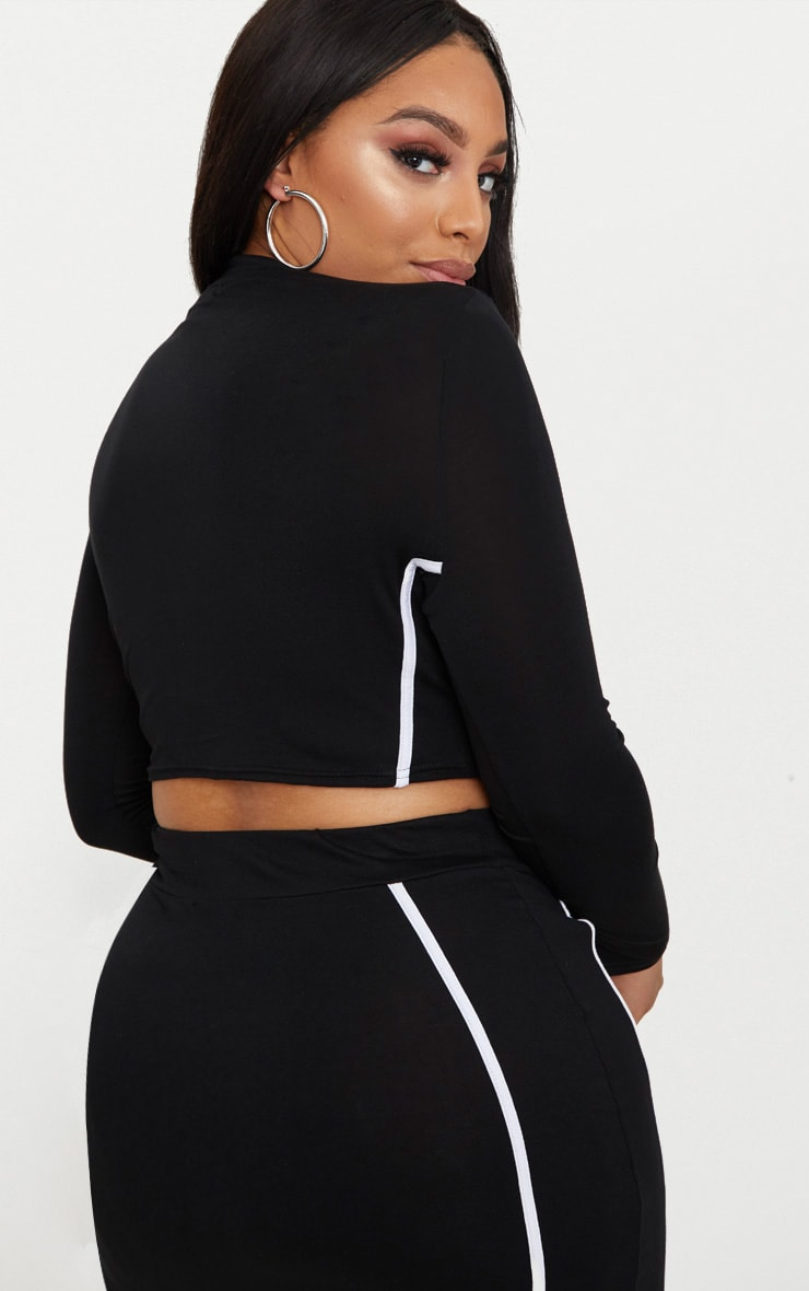 Plus Black High Neck Side Stripe Crop Top 2