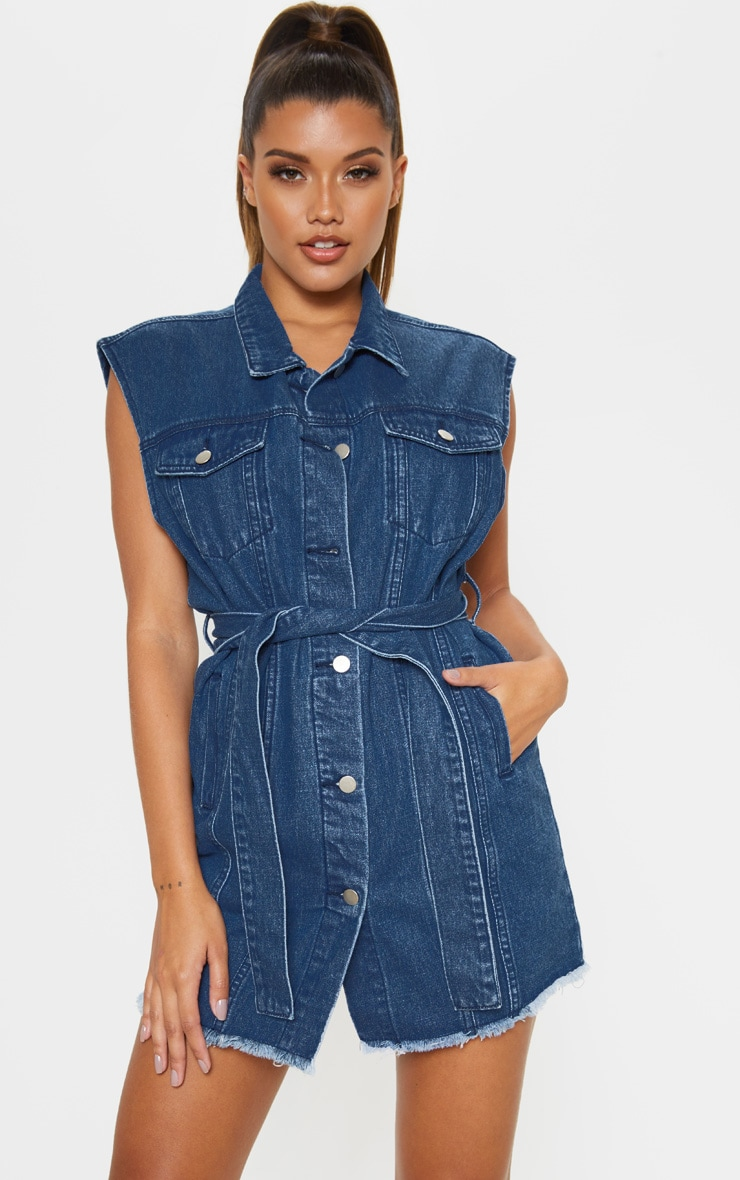 Mid Wash Tie Waist Sleeveless Denim Dress 4