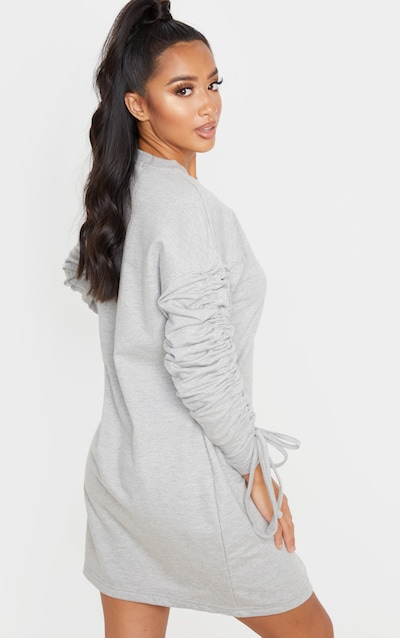 Petite Grey Marl Ruched Sleeve Jumper Dress