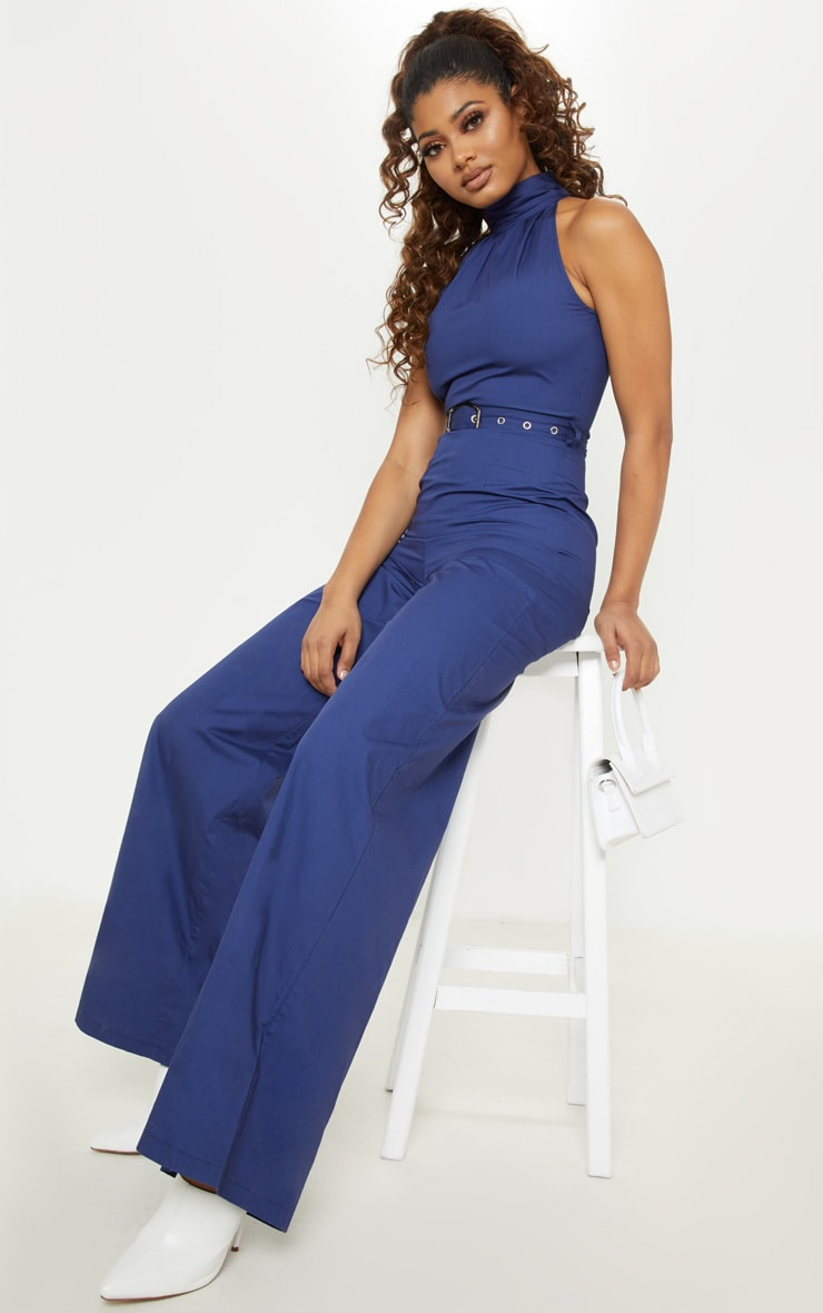 Tall Navy Belt Detail Woven Wide Leg Jumpsuit 4