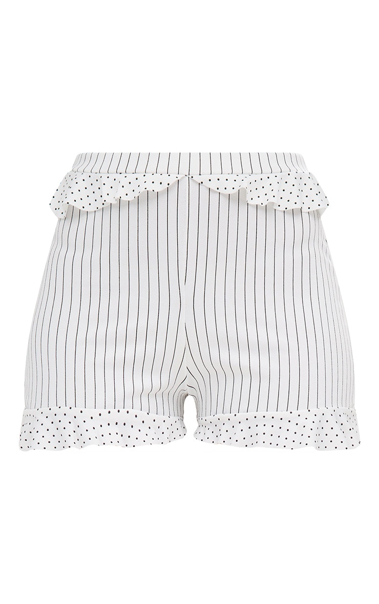 Cream Contrast Frill Stripe Shorts 3