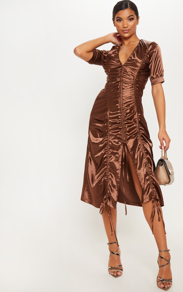 chocolate satin ruched midaxi dress