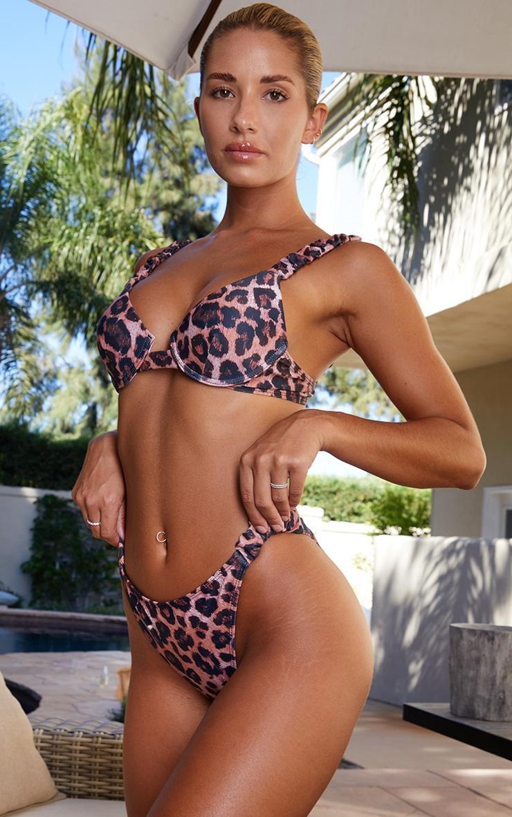Leopard Ruched Tanga Bikini Bottom 2