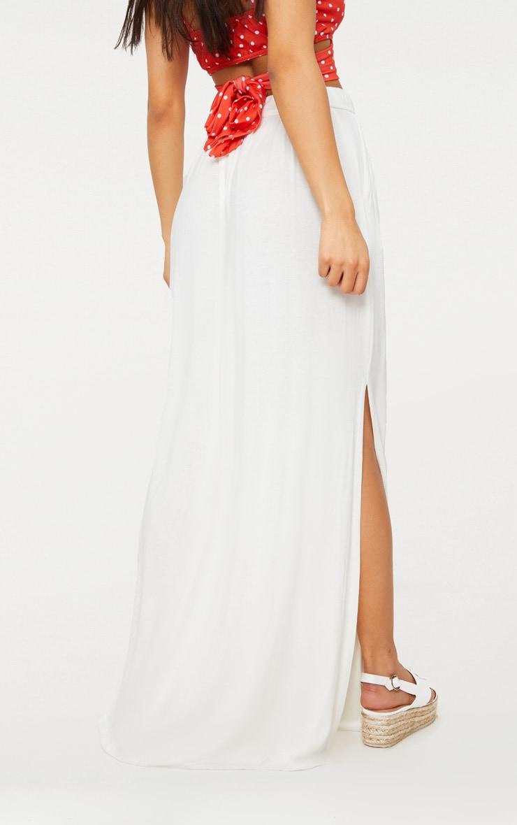 White Jersey Drawstring Maxi Skirt 4