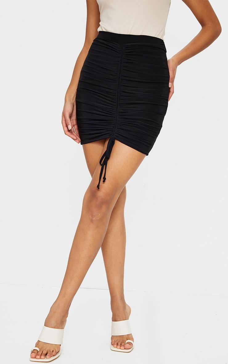 Black Ruched Front Slinky Mini Skirt 2