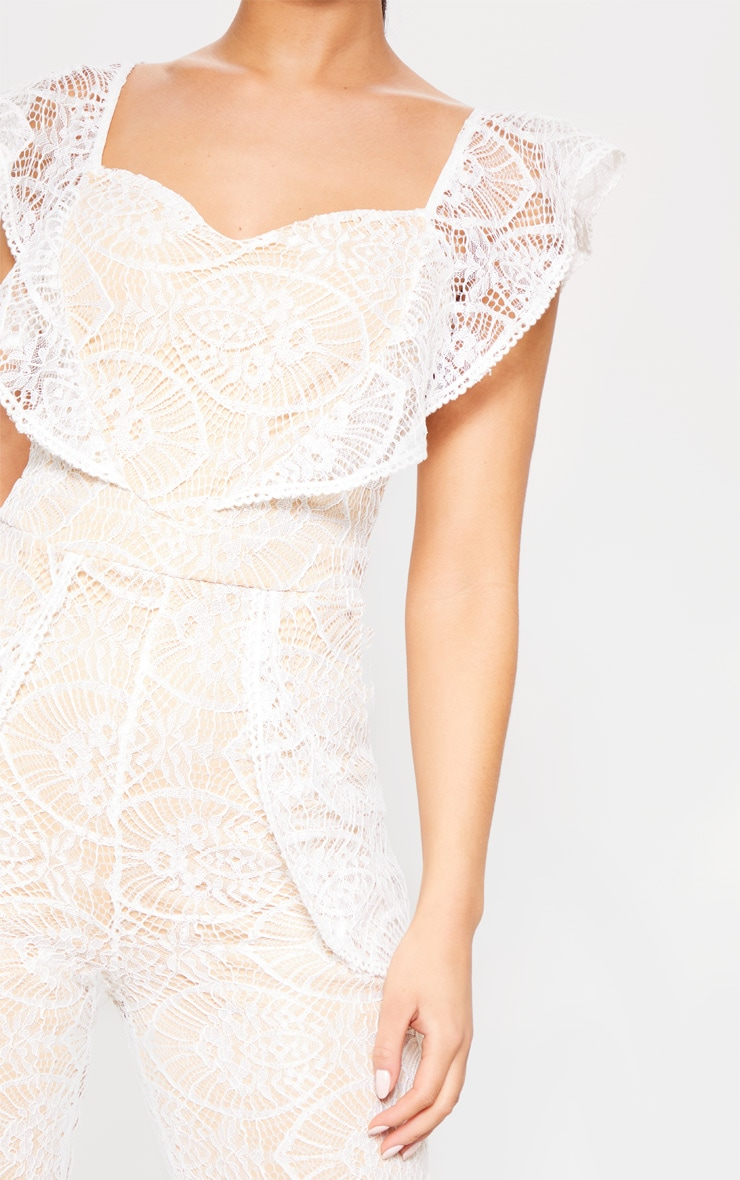 White Lace Frill Detail Sweetheart Neckline Jumpsuit 5