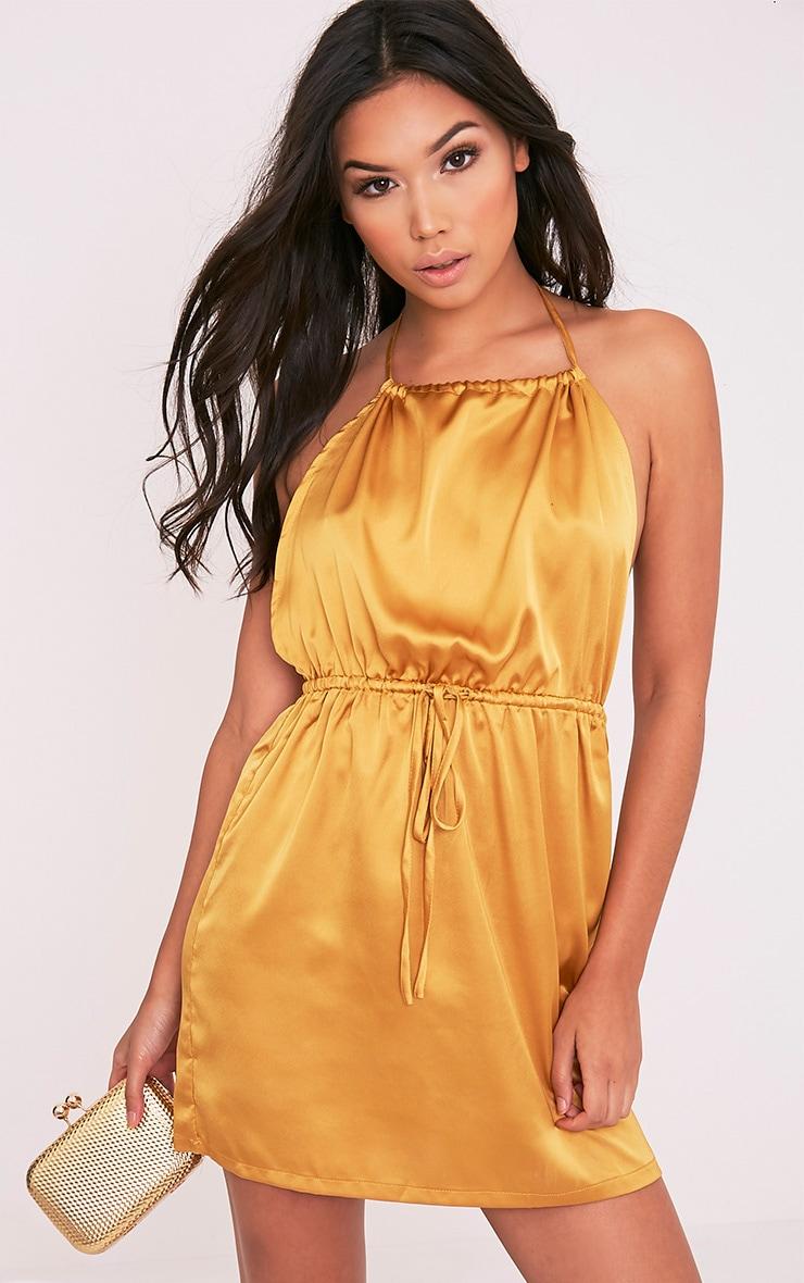 Raiane Gold Silky Halterneck Shift Dress 4