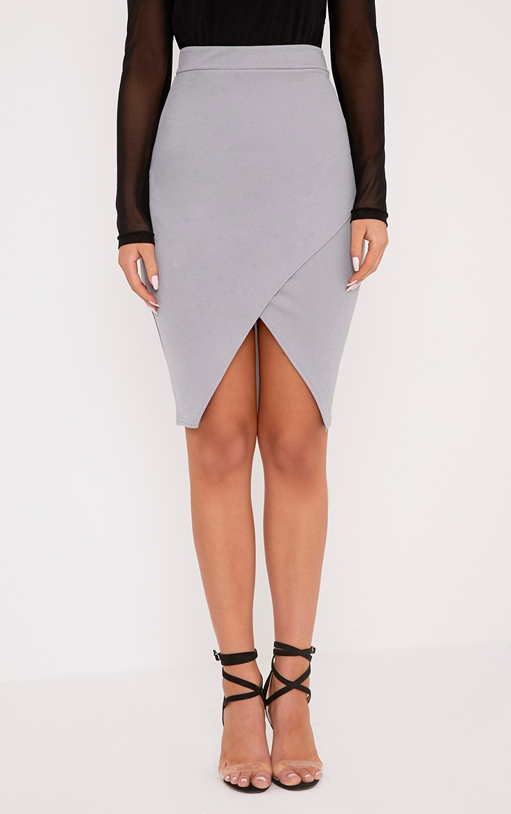Aislynn Grey Wrap Midi Skirt 2