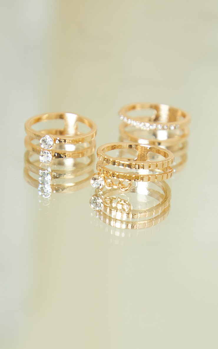 Gold Diamante Assorted Rings 2